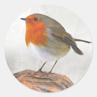Plump Robin Redbreast Round Sticker