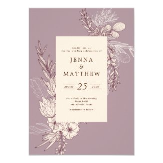 Plums and cream modern botanical wedding invitation