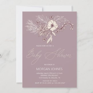 Plums and Creme Floral Baby Shower Invitation