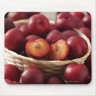 Plums in basket mouse pad