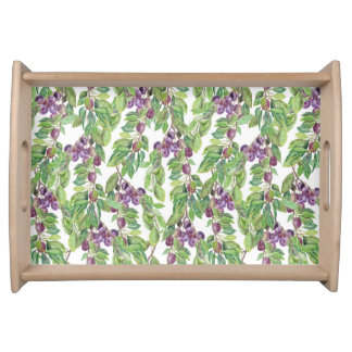 Plums watercolor pattern serving tray