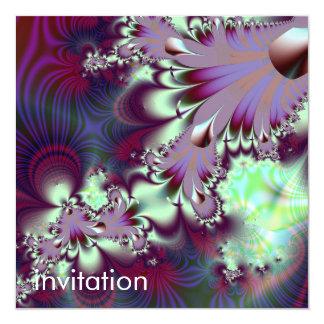 Plumule · Fractal Art · Purple & Aqua 13 Cm X 13 Cm Square Invitation Card