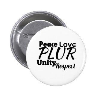 PLUR - Peace, Love, Unity, Respect 6 Cm Round Badge