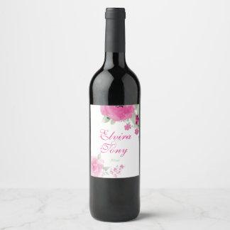 Plush Pink Roses, Watercolor Floral Wine Label