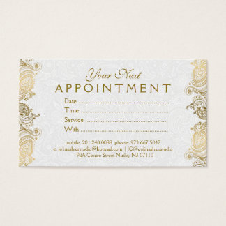 Plush White & Gold Paisley Lace Appointment Card