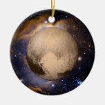 Pluto Heart Galaxy Nebula and Stars Round Ceramic Decoration