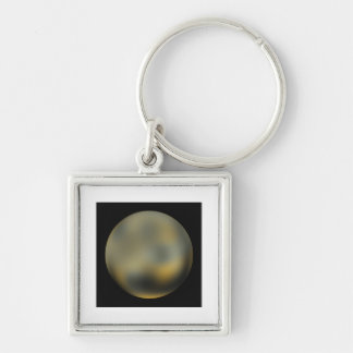 Pluto planet giant ball in the sky Silver-Colored square key ring