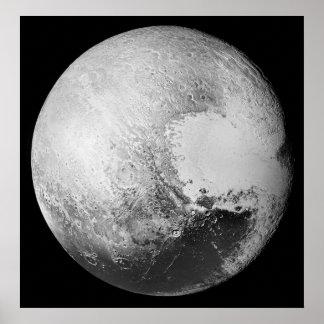 Pluto the (Dwarf) Planet High Detail Black/White Poster