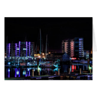 Plymouth Barbican by Night - blank notelet Note Card