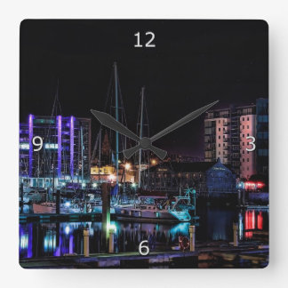 Plymouth Barbican by Night Wall Clock