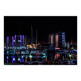 Plymouth Barbican View by Night poster