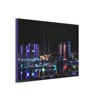 Plymouth Barbican View by Night - wrapped canvas Gallery Wrap Canvas
