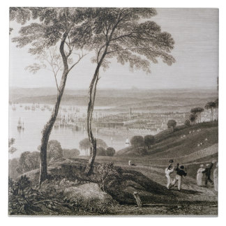 Plymouth Dock from Mount Edgecombe, from 'Cooke's Large Square Tile