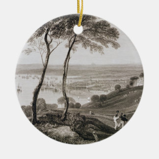 Plymouth Dock from Mount Edgecombe, from 'Cooke's Round Ceramic Decoration