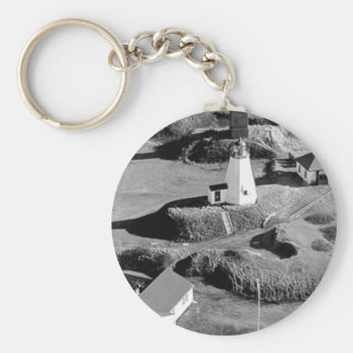 Plymouth Lighthouse Basic Round Button Key Ring