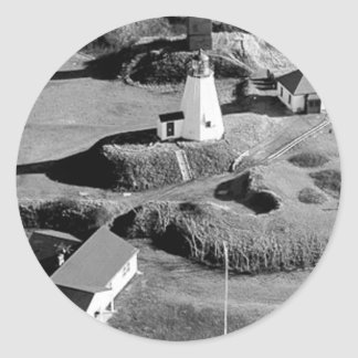 Plymouth Lighthouse Round Sticker