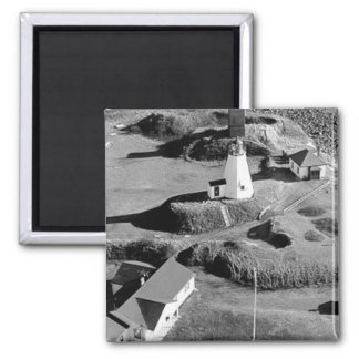 Plymouth Lighthouse Square Magnet