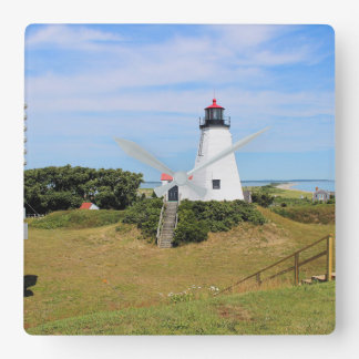 "Plymouth Lighthouse, ""the Gurnet"" Massachusetts Square Wall Clock"