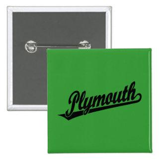 Plymouth script logo in black 15 cm square badge