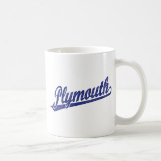 Plymouth script logo in blue distressed basic white mug