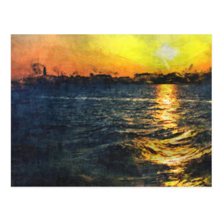 Plymouth sound Sunset Postcard