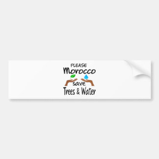 Plz Morocco Save Tree & Water Bumper Sticker
