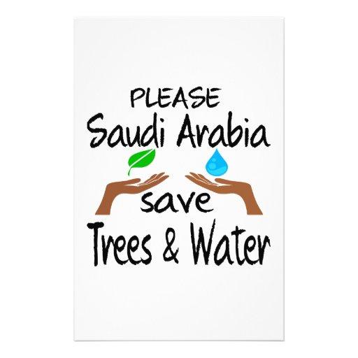 Plz Saudi Arabia Save Tree & Water Customized Stationery