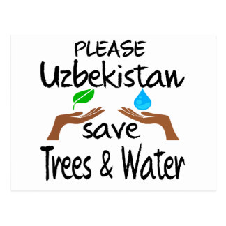Plz Uzbekistan Save Tree & Water Post Cards