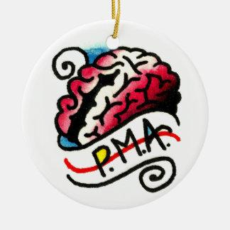 PMA Brain Watercolor Round Ceramic Decoration