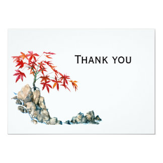PMACarlson Red Maple Bonsai Thank you  note 13 Cm X 18 Cm Invitation Card