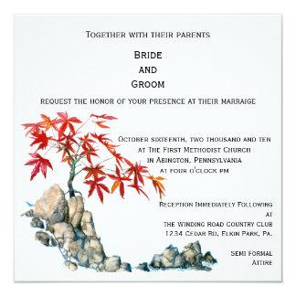 PMACarlson Red Maple Bonsai Wedding Invitation