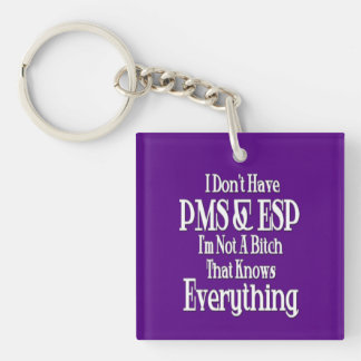 PMS and ESP Women's Humor Square Key Chain Double-Sided Square Acrylic Keychain