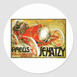 Pneus Tires ~ Senatzy Car Race Brussels Poster Classic Round Sticker