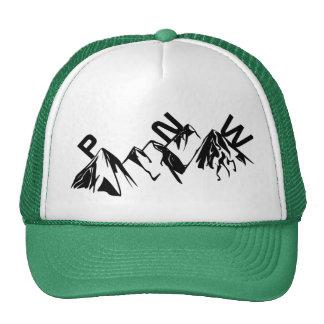 PNW Trucker Hat Skinny Lettering on Mountains