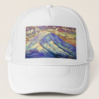 PNW White Trucker Hat- Mount Rainier Trucker Hat