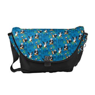 Po and Bao Blue Pattern Messenger Bag