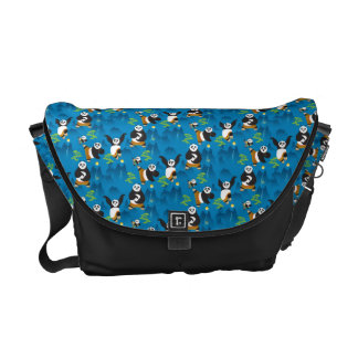Po and Bao Blue Pattern Messenger Bags