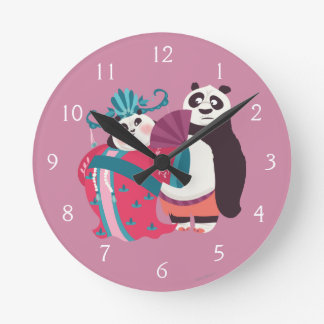 Po and Mei Mei Round Clock