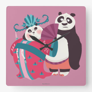 Po and Mei Mei Square Wall Clock
