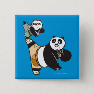 Po Ping and Bao Kicking 15 Cm Square Badge