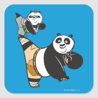 Po Ping and Bao Kicking Square Sticker