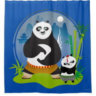 Po Ping and Bao Pose Shower Curtain