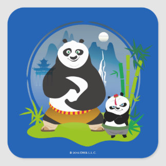 Po Ping and Bao Pose Square Sticker