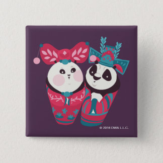 Po Ping and Mei Mei 15 Cm Square Badge
