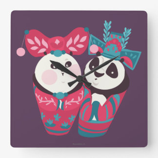 Po Ping and Mei Mei Square Wall Clock