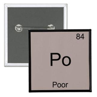 Po - Poor Chemistry Element Symbol Funny Periodic 15 Cm Square Badge