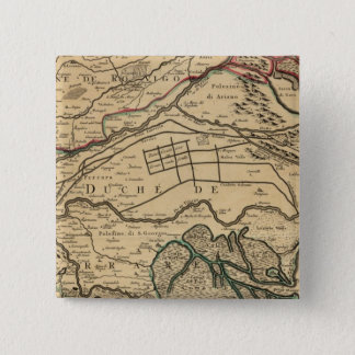 Po River Valley engraved map 15 Cm Square Badge