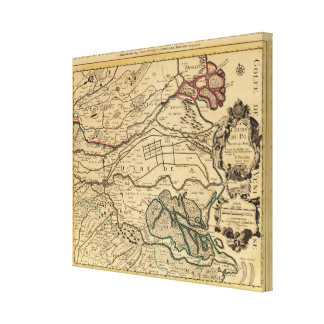 Po River Valley engraved map Canvas Print