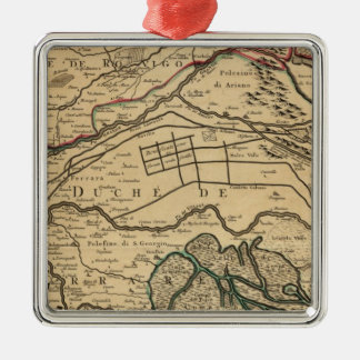 Po River Valley engraved map Silver-Colored Square Decoration