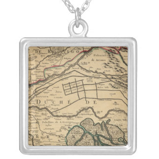 Po River Valley engraved map Silver Plated Necklace